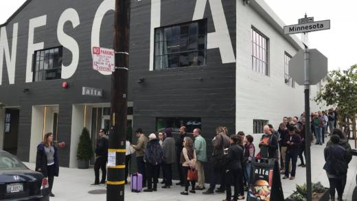 "More than 2000 people lined up outside Minnesota Street Project in San Francisco for up to 90 minutes for three days in October to see ""Salvator Mundi"" by Leonard da Vinci. The work just sold at auction for a record-shattering $450.3 million."