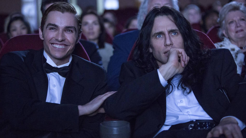 Nothing's Gonna Tear Them Apart, Lisa: Greg (Dave Franco) and Tommy (James Franco) wait for the lights to go down in'The Disaster Artist.'