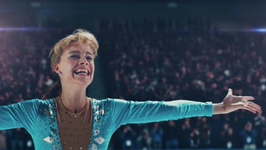Tonya Harding (Margot Robbie) after landing the triple axel in 'I, Tonya.'