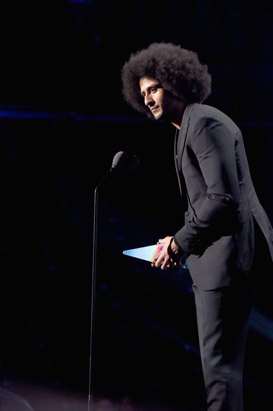 Colin Kaepernick receives the SI Muhammad Ali Legacy Award during Sports Illustrated's 2017 Sportsperson of the Year Show on December 5, 2017 at Barclays Center in New York City.
