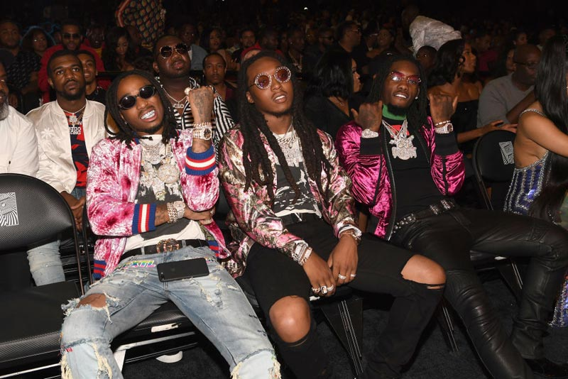 Rappers Quavo, Takeoff and Offset of Migos attend the BET Hip Hop Awards 2017 at The Fillmore Miami Beach at the Jackie Gleason Theater on October 6, 2017 in Miami Beach, Florida.