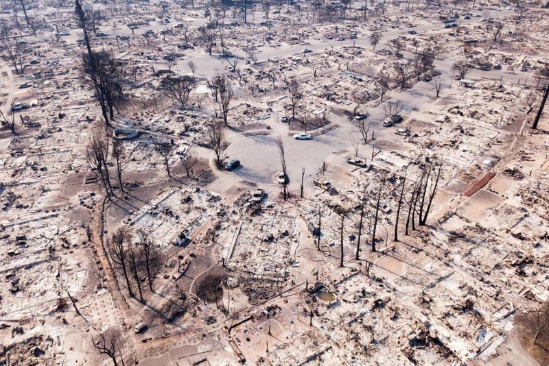 Fire damage is seen from the air in the Coffey Park neighborhood October 11, 2017, in Santa Rosa, California.