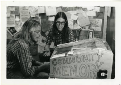 Community Memory terminal at Leopold's Records, Berkeley, California, c. 1974.