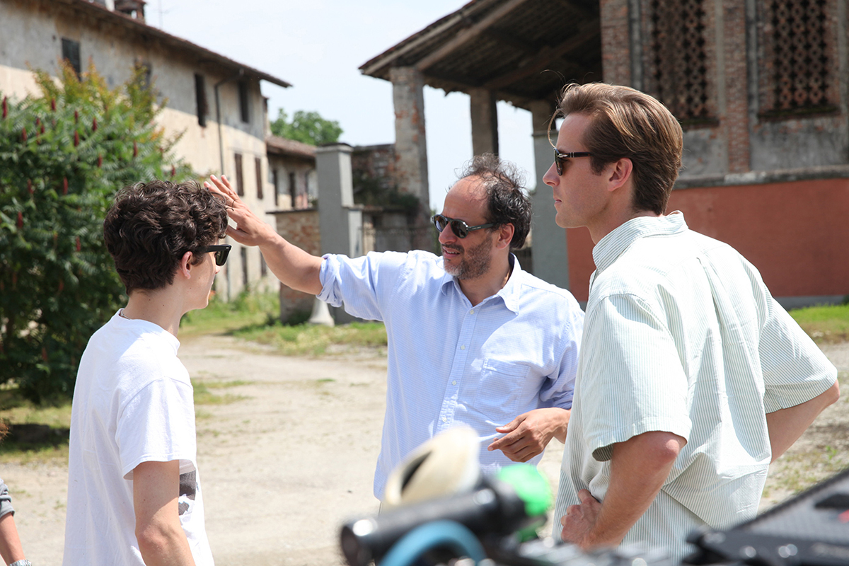 Left to right: Timothée Chalamet, director Luca Guadagnino and Armie Hammer.