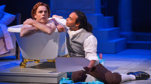 Thomas Jefferson (Mark Anderson Phillips) thinks of the future of the country while he takes a bath with the help of one of his slaves, the half-brother of his dead wife, Robert Hemings (Cameron Matthews) in 'Thomas and Sally' by Thomas Bradshaw.