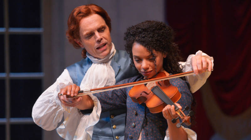Thomas Jefferson (Mark Anderson Phillips) and Sally Hemings (Tara Pacheco) start with music and then things get more complex in 'Thomas and Sally' by Thomas Bradshaw.