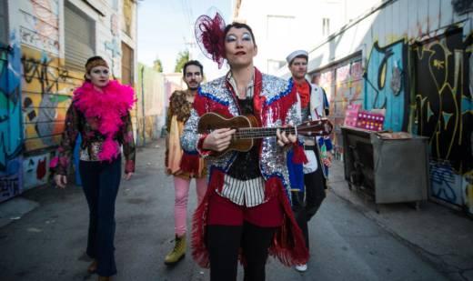 Liane Burns, Maro Guevara, Erin Mei-Ling Stuart and Scott Marlowe in detour dance's 'Fugue.'