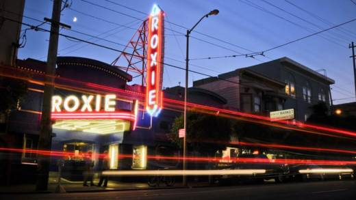The Roxie Theater in San Francisco by night. The indie theater has seen an uptick in business in recent months, thanks, in part to the dirt-cheap subscription service, MoviePass.