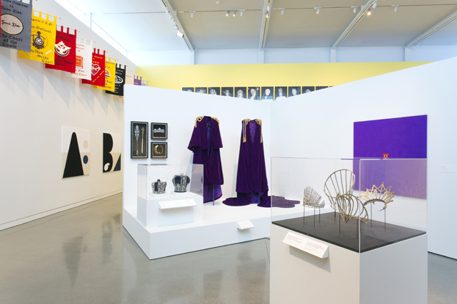 Installation view of 'Over the Top: Math Bass and the Imperial Court SF' at the Oakland Museum of California.