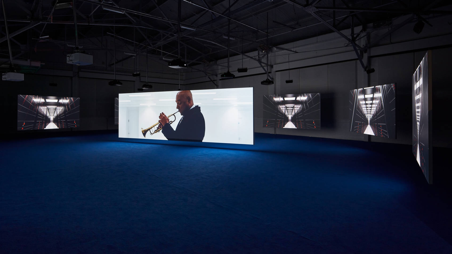 Install view of Isaac Julien, 'Playtime,' 2014 in Gallery 308. Fort Mason Center for Arts & Culture / JKA Photgraphy