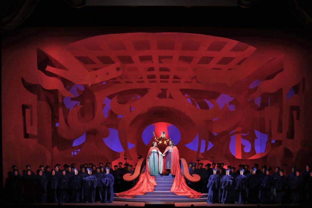 "David Hockney's set design for Act III of SF Opera's ""Turandot."""