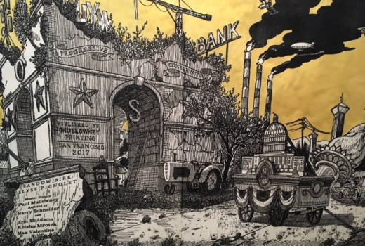 "The centerpiece of Sandow Birk and Elyse Pignolet's massive woodblock ""American Procession"""