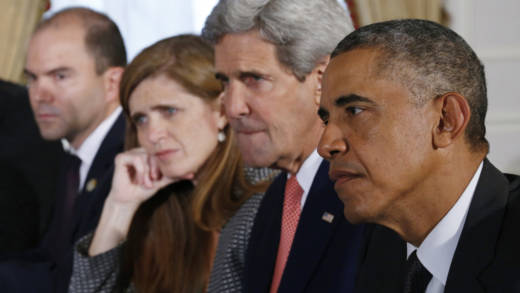 President Barack Obama, Secretary of State John Kerry, UN Ambassador Samantha Power, and Deputy National Security Adviser Ben Rhodes in 'The Final Year.'