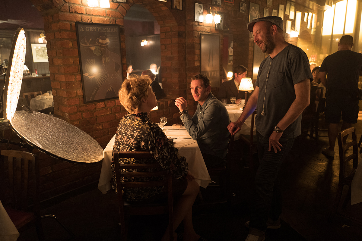 Left to right: Annette Bening, Jamie Bell and director Paul McGuigan on the set of 'Film Stars Don't Die in Liverpool.'