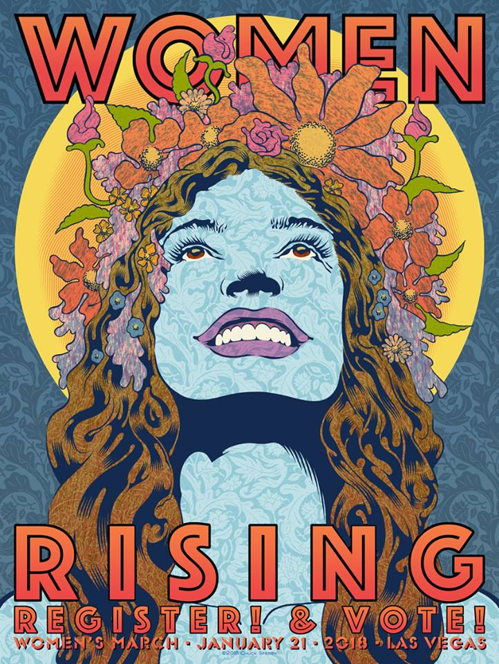 'Women Rising,' poster for the Women's March 2018, Chuck Sperry.