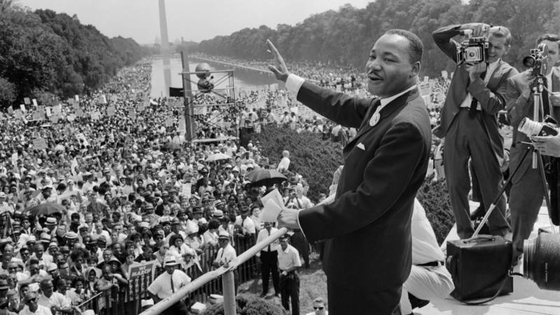 The civil rights leader Martin Luther King waves to supporters on Aug. 28, 1963 at the March on Washington.