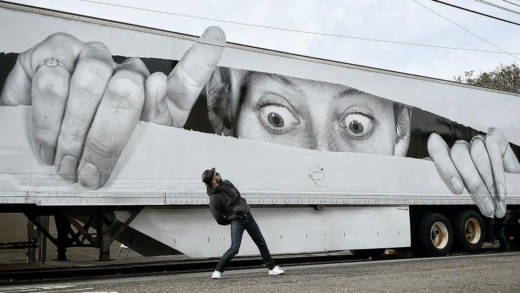 The artist JR with his mobile truck in San Francisco.