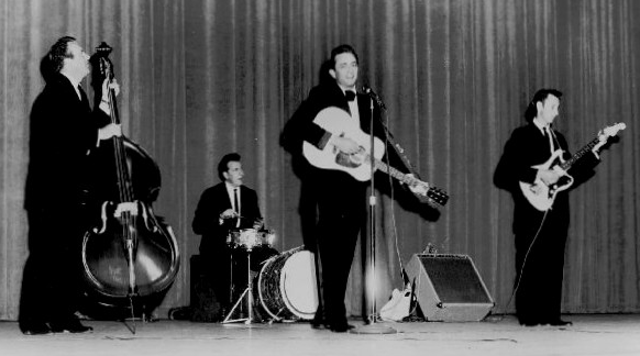"Johnny Cash and the Tennessee Three. WS ""Fluke"" Holland on drums"
