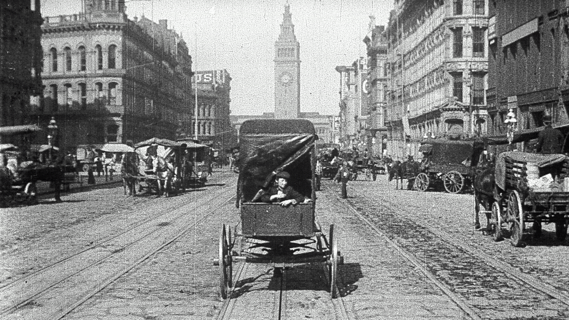 The Miles Brothers, Still from 'A Trip Down Market Street,' 1906. Courtesy of Rick Prelinger