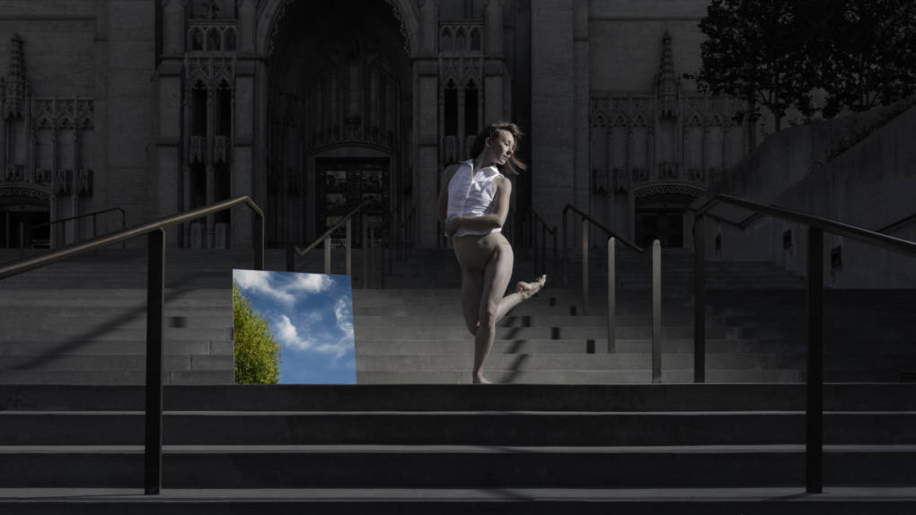 ODC's Rachel Furst outside Grace Cathedral, peraparing for a performance of KT Nelson's 'Path of Miracles'