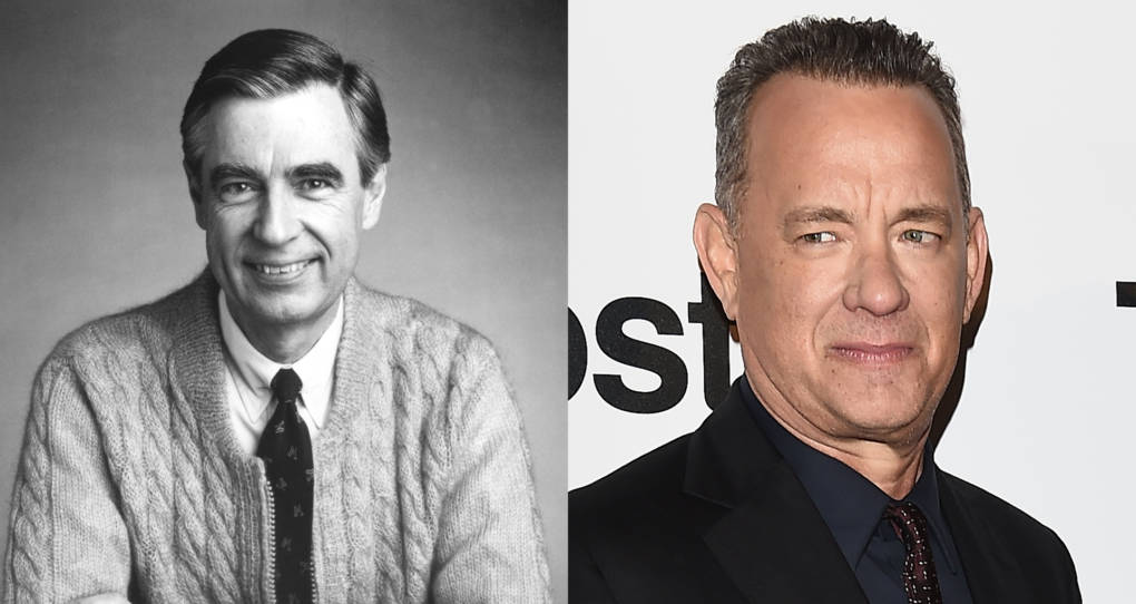"""Left: Fred Rogers, The Host Of The Children's Television Series, """"Mr. Rogers' Neighborhood,"""" Sits For A Promotional Portrait In This Picture From The 1980's. Right: Tom Hanks attends the 'The Post' premiere on January 15, 2018 in Milan, Italy"""