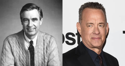 "Left: Fred Rogers, The Host Of The Children's Television Series, ""Mr. Rogers' Neighborhood,"" Sits For A Promotional Portrait In This Picture From The 1980's. Right: Tom Hanks attends the 'The Post' premiere on January 15, 2018 in Milan, Italy"