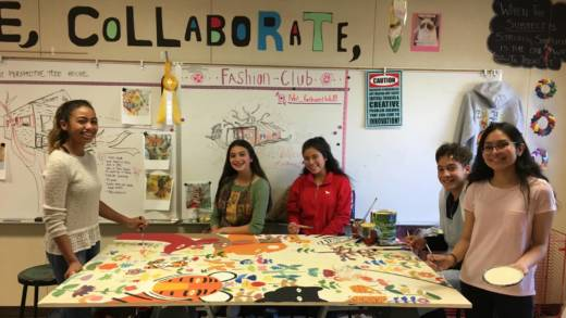 Pinole Valley High students take a break from working on their mural.