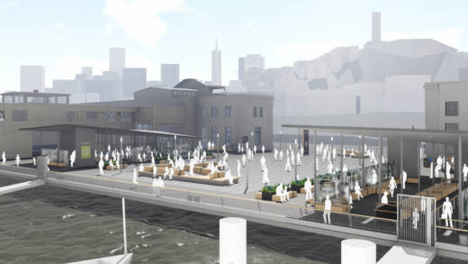 A view from the water of the proposed Alcatraz ferry landing and welcome center at Pier 3`1 1/2 on San Francisco's Embarcadero.