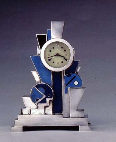 Jean Goulden (1878-1946), Clock, 1928. Silvered bronze with enamel.
