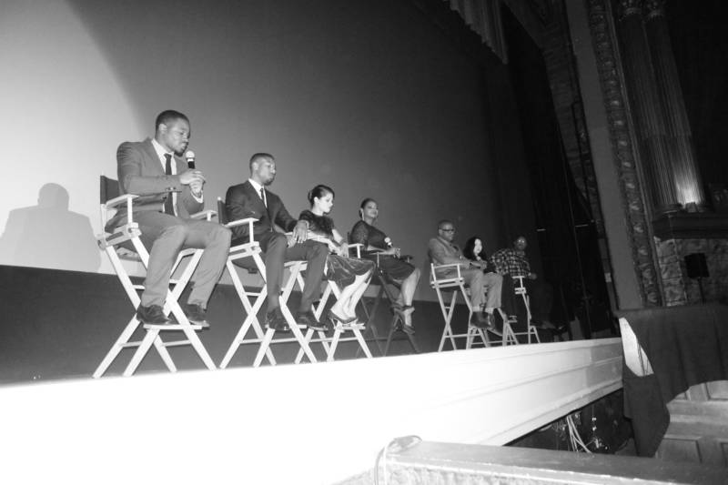 Director Ryan Coogler speaking at the Grand Lake Theater with members of the cast and crew of 'Fruitvale Station' (Michael B. Jordan, Melonie Diaz, Octavia Spencer, Forest Whittaker and others) on the night of the premiere.