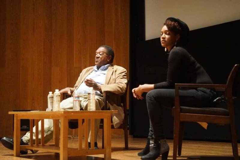 Black Panther Party co-founder Bobby Seale and poet Chinaka Hodge share the stage at the Oakland Museum.