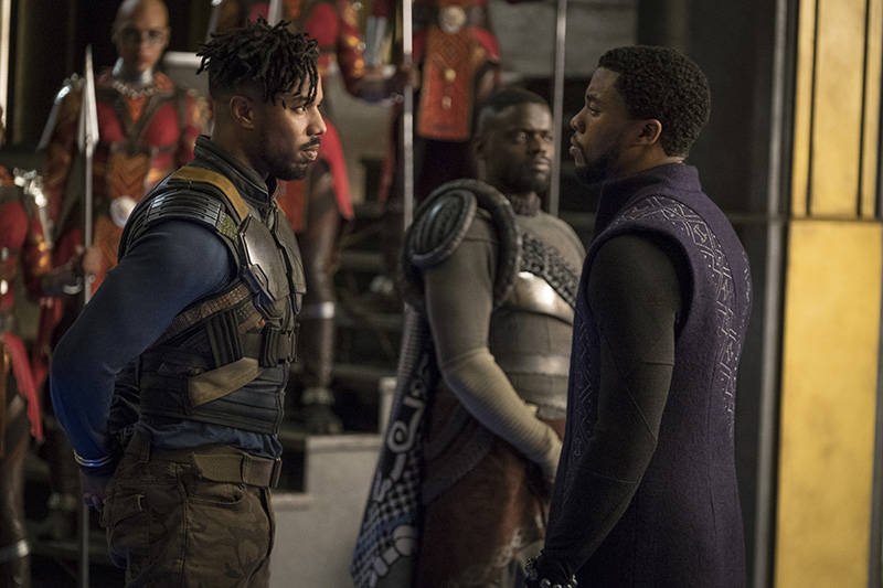 Erik Killmonger (Michael B. Jordan) and T'Challa/Black Panther (Chadwick Boseman), and W'Kabi (Daniel Kaluuya).