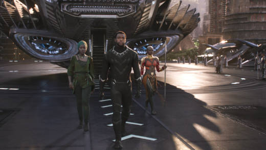 Nakia (Lupita Nyong'o), T'Challa/Black Panther (Chadwick Boseman) and Okoye (Danai Gurira), left to right, in Marvel's 'Black Panther.'