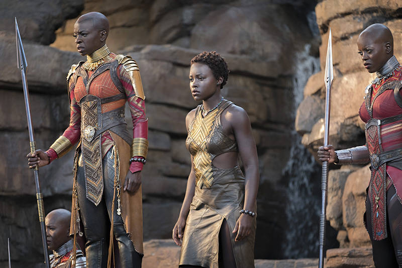 Okoye (Danai Gurira), Nakia (Lupita Nyong'o), and Ayo (Florence Kasumba), left to right.