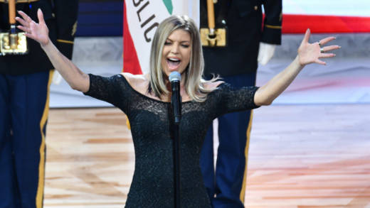 Fergie sings the national anthem prior to The 67th NBA All-Star Game: Team LeBron Vs. Team Stephen at Staples Center on February 18, 2018 in Los Angeles, California.