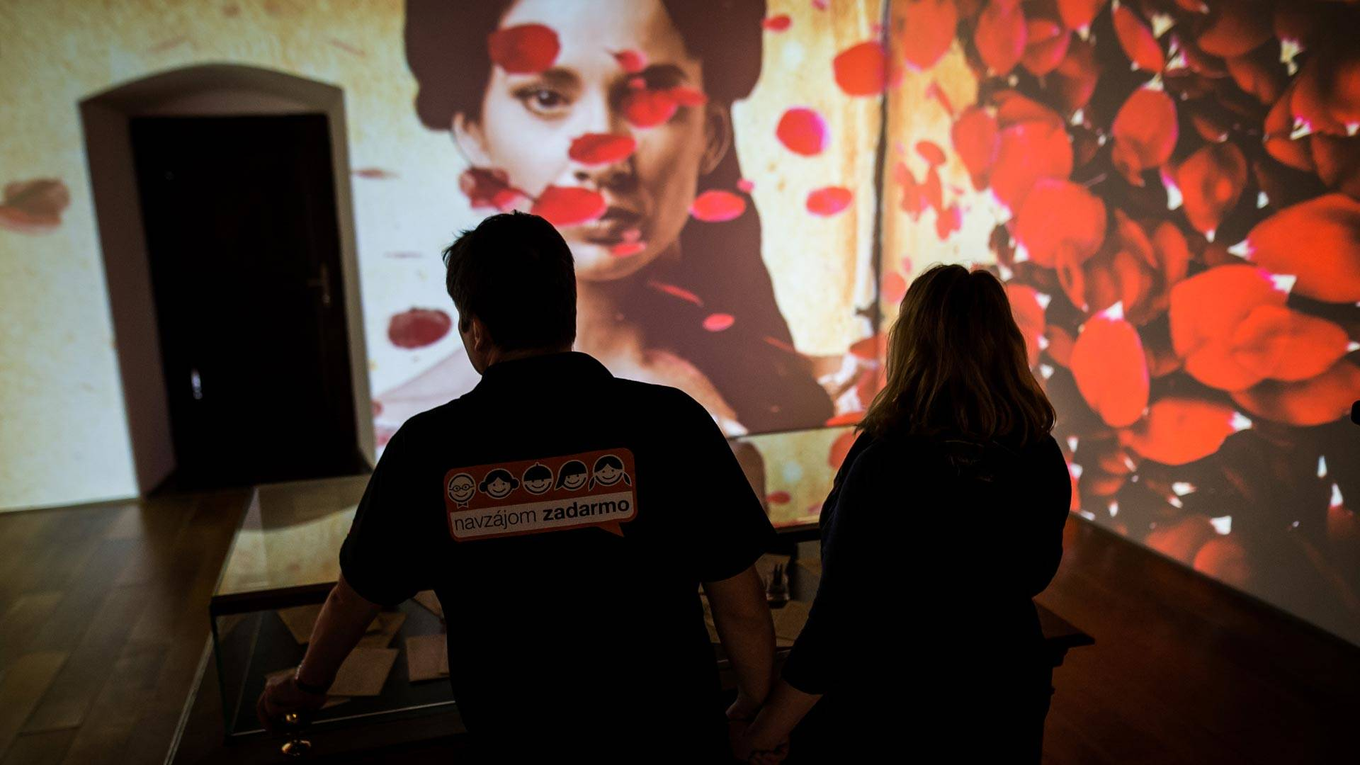 A couple visits the interactive exhibition dedicated to the longest love poem in the world, written by Andrej Sladkovic in 1844 - Marina, in Banska Stiavnica on Feb. 3, 2018. VLADIMIR SIMICEK/AFP/Getty Images