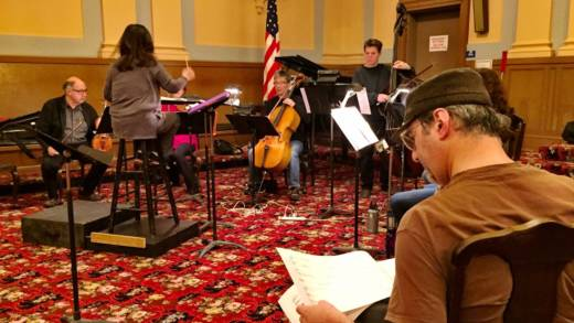 Composer and librettist Brian Rosen at a rehearsal for his new opera 'Playboy'