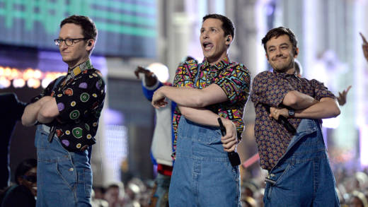(L-R) Akiva Schaffer, Andy Samberg and Jorma Taccone of The Lonely Island perform onstage during the 2016 MTV Movie Awards at Warner Bros. Studios on April 9, 2016 in Burbank, California.