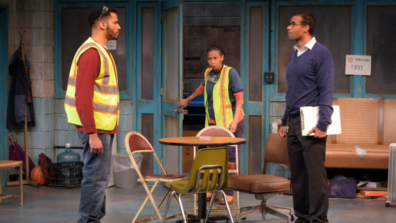 Faye (Margo Hall) interrupts a heated argument between Dez (Christian Thompson) and Reggie (Lance Gardner) in 'The Skeleton Crew' at the Marin Theatre Company.