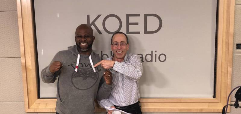 Marc Bamuthi Joseph and Cy Musiker in the studio at KQED