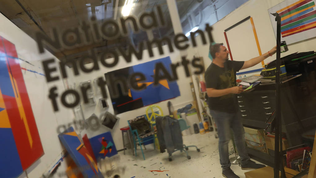 Claudio Roncoli a recipient of an award from the National Endowment for the Arts works in his studio space at the Bakehouse Art Complex on March 16, 2017 in Miami, Florida.