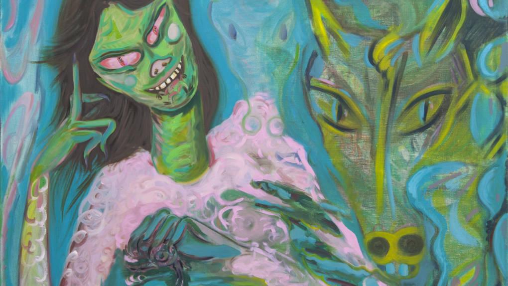 Rainen Knecht, Detail of 'Frog Eater,' 2018.
