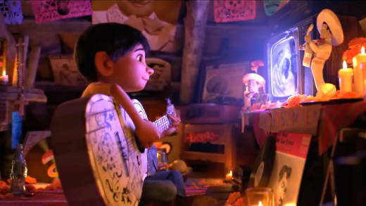 A scene from the Disney-Pixar animated movie Coco, about a young boy, Miguel, who dreams of becoming a musician despite his parents' objections