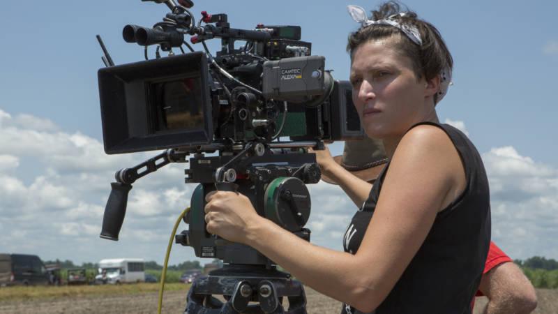 Rachel Morrison on set for 'Mudbound.'