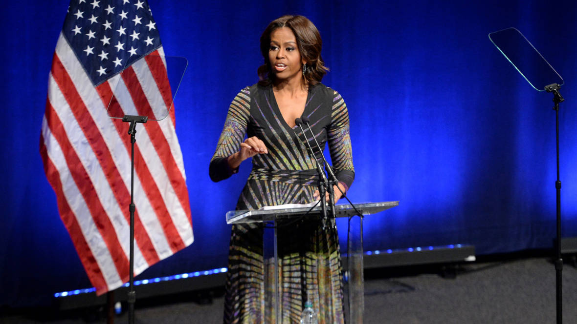First Lady Michelle Obama speaks at the launch of the mental health initiative Campaign to Change Direction, at the Newseum in Washington, DC March 4, 2015.  DoD News photo by EJ Hersom