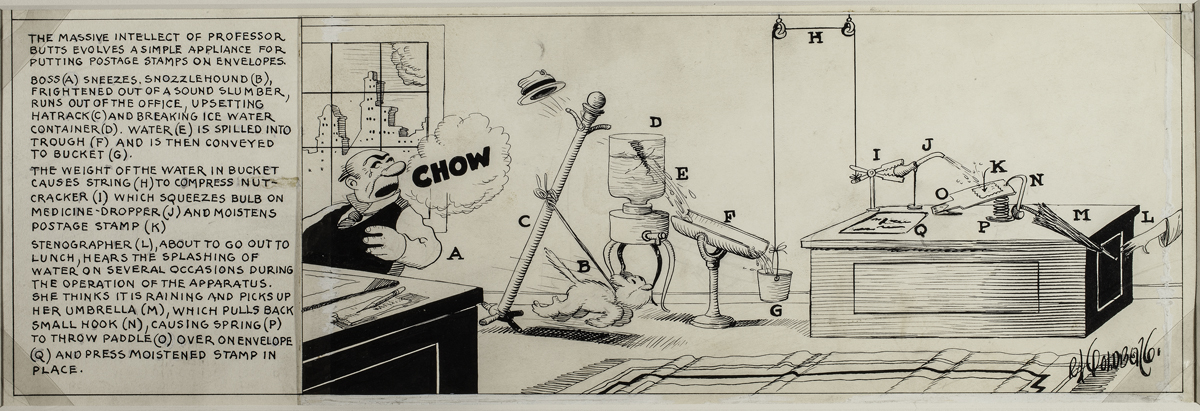 Rube Goldberg, 'Professor Butts Invention Drawing (Postage Stamps),' 1929.