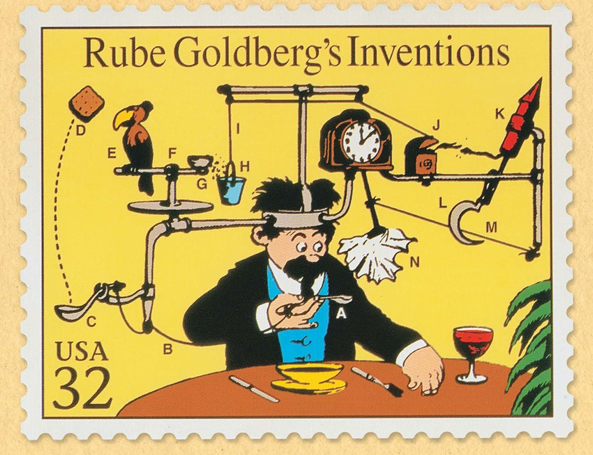 "Rube Goldberg, 'Rube Goldberg Inventions United States Postal Service Stamp' (included on sheet of ""Comic Classics"" stamps), date unknown."