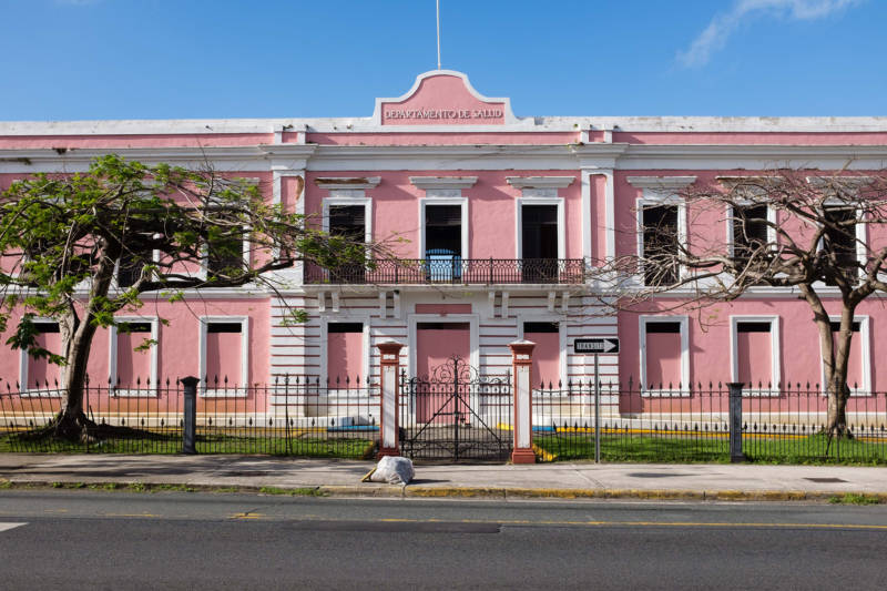 An empty Health Department building on Avenida Juan Ponce de León in San Juan, photographed on February 12, 2018. Many buildings have been left empty in the capitol city due to the twin crises of the government debt crisis and natural disaster.