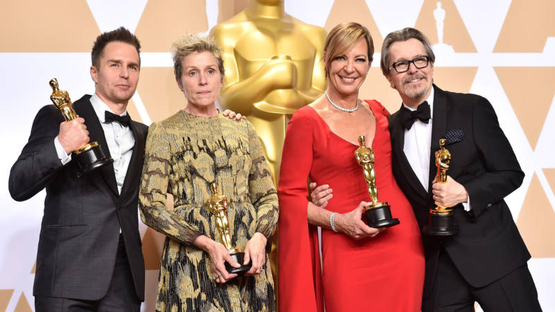 (L-R) Actor Sam Rockwell, winner of the Best Supporting Actor award for 'Three Billboards Outside Ebbing, Missouri;' actor Frances McDormand, winner of the Best Actress award for 'Three Billboards Outside Ebbing, Missouri;' actor Allison Janney, winner of the Best Supporting Actress award for 'I, Tonya;' and actor Gary Oldman, winner of the Best Actor award for 'Darkest Hour,' poses in the press room during the 90th Annual Academy Awards at Hollywood & Highland Center on March 4, 2018 in Hollywood, California.