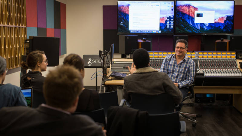 SFCM students in class with Professor Matt Levine, a former composer at Sony.